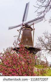 Windmill in the picturesque ancient little village Buren in Neder-Betuwe, Gelderland, Netherlands