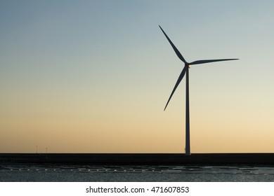 Windmill power-plant Dutch coast