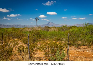 A windmill provides water for livestock in the Chihuahuan Desert in west Texas.