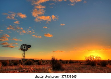Windmill in remote Australian outback