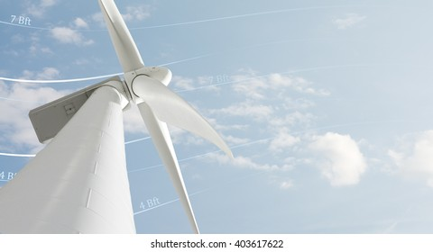 Windmill renewable power plant against sky with wind lines and beaufort signs and copy-space