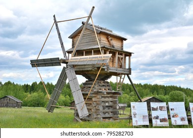 Windmill restored according to old drawings and photos. Russia, Vologda region, village of Semenkovo, the Museum of wooden architecture, 25 Jun 2017