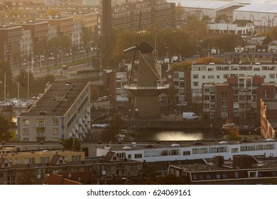 Windmill in Rotterdam - aerial view at sunset. Rotterdam, South Holland, Netherlands.