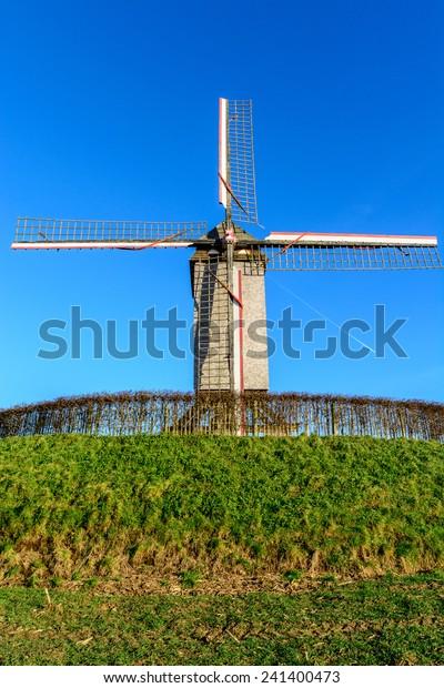 Windmill, Schietsjampettermolen, Wannegem, East Flanders, Belgium