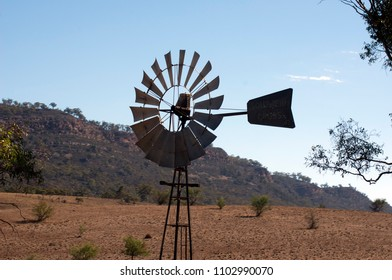 Windmill seen from train, Quorn, South Australia