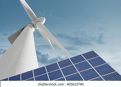 Windmill and solar cell for ecologic and renewable electric energy production