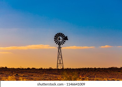 Windmill in South Australia at sunset