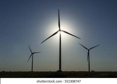 windmill sunny sunset three sky
