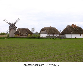 Windmill and thatched houses, Tum by Leczyca, Poland