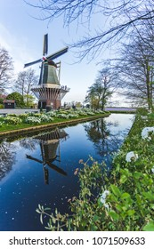 Windmill and tulips at Keukenhof Gardens. Lisse, South Holland province, Netherlands
