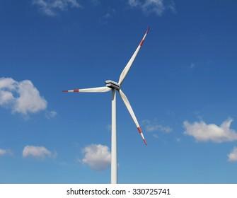 Windmill turbine clean energy generator on sky background
