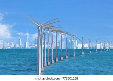 Windmill turbine electrical generator in ocean sea.