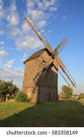 Windmill in village. Poland