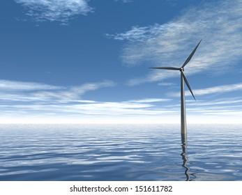 windmill at water - 3d illustration