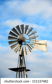 Windmill water pump at sunset, South Africa