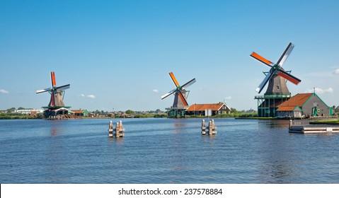 Windmill in Zaanse Schans Amsterdam The Netherlands