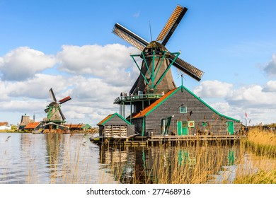 Windmill in Zaanse Schans, quiet village in Netherlands, province North Holland