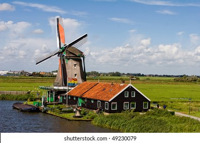 Windmill in Zaanse Schanse, famous tourist attraction in Netherlands