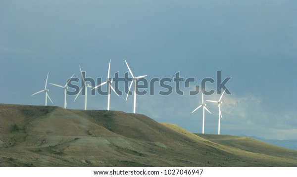 Windmills along Interstate 80 in Wyoming.
