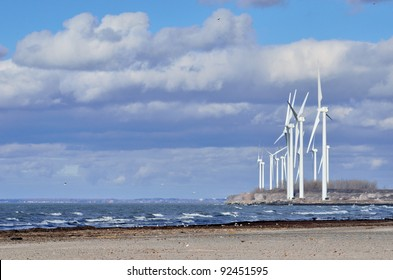 Windmills along the shore of Lake Erie near Buffalo New York.