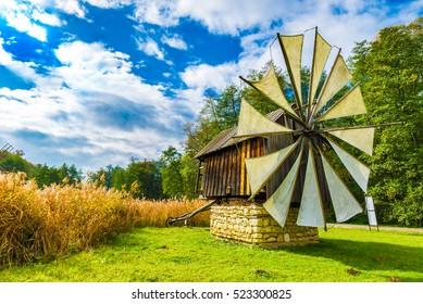 Windmills in the Astra Ethnographic Museum,Sibiu, Romania, Europe