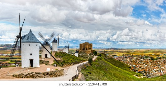 Windmills and Castle Consuegra, Castile-La Mancha, Spain