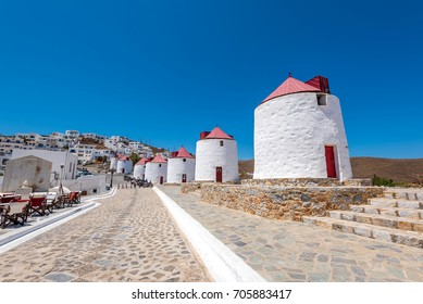 windmills in chora of Astypalaia. Greece.