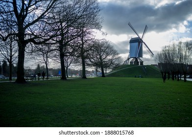 windmills from the city of brugge