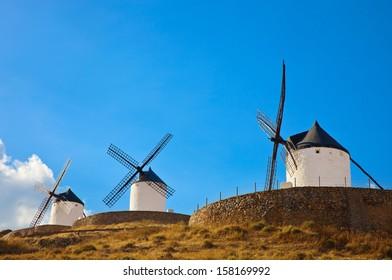 Windmills of Consuegra in the La Mancha region of central Spain.