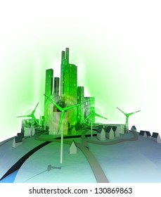 windmills create electricity for modern ecological green city illustration