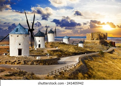 windmills of Don Quixote., Spain. Traditional spanish windmills. Legendary windmills of writer Servantes. Consuegra, Spain