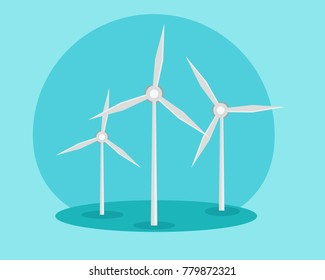 Windmills, ecology concept. Alternative sources of energy. Green energy. Illustration