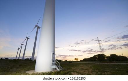 windmills for  electric power production, El Buste, Zaragoza, Aragon, Spain