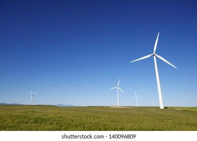 windmills for  electric power production, Gurrea de Gallego, Huesca, Aragon, Spain