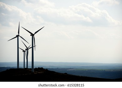 Windmills for electric power production, Huesca Province, Aragon, Spain.