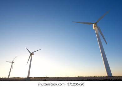 Windmills for electric power production, La Muela, Zaragoza Province, Aragon, Spain.