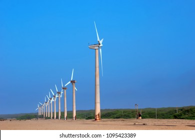 Windmills for electric power production at mandvi beach, gujarat, india.