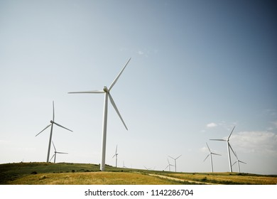 Windmills for electric power production, Soria Province, Castilla Leon, Spain.