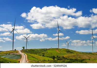 Windmills for electric power production, a wind turbine on the wind-farm.