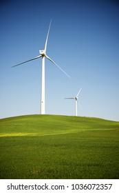 Windmills for electric power production, Zaragoza Province, Aragon, Spain.