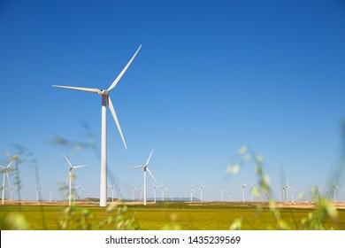 Windmühlen für die Stromerzeugung, Provinz Zaragoza, Aragon, Spanien.