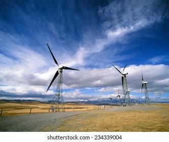 Windmills - electrical windmills farm industry by Cowley, Alberta CanadaCanada