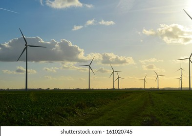 Windmills in french fields New Energy