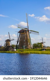 Windmills in Kinderdijk - Netherlands - architecture background