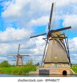 Windmills of Kinderdijk in Netherlands, UNESCO World Heritage Site.