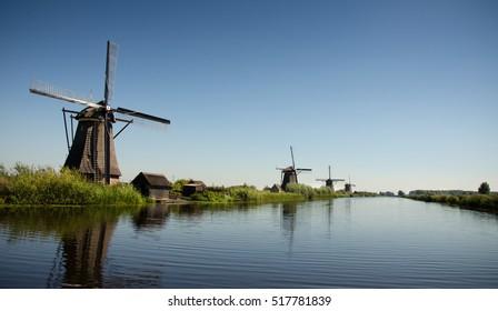 Windmills at Kinderdijk on a sunny day. Holland.
