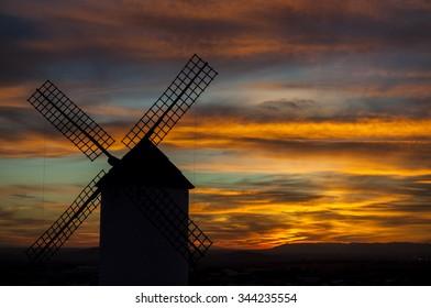 Windmills in La Mancha. Spain