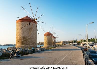 Windmills in Mandraki harbor in City of Rhodes (Rhodes, Greece)
