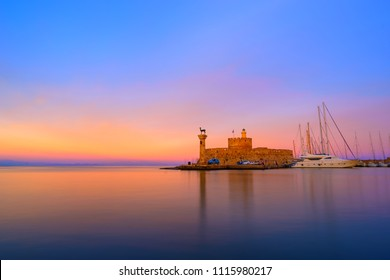 Windmills at Mandraki Harbour in Rhodes island Greece