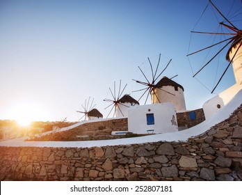 Windmills in Mykonos, early morning sunrise.